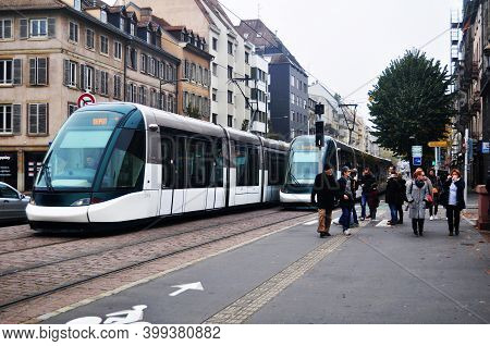 French People And Travelers Foreign Walking And Waiting Tramway And Bus Go To Destination At Train S