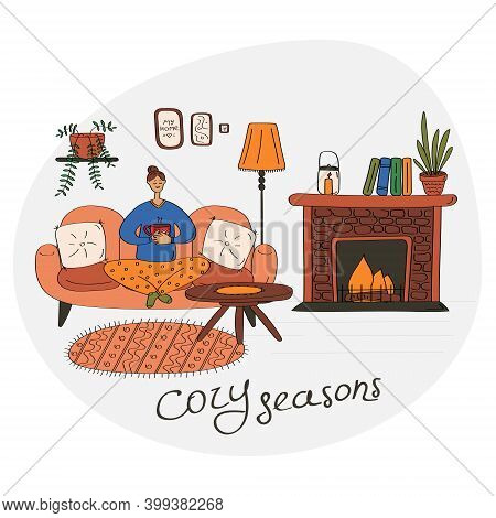 Stay Home Concept. Cozy Seasons Card With Happy Young Lady. Woman Relaxes And Enjoys Home Warmth. Ha