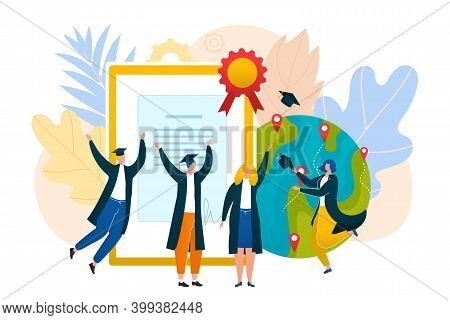 Globe Graduate, Student People Get College Knowledge And University Education Vector Illustration. S
