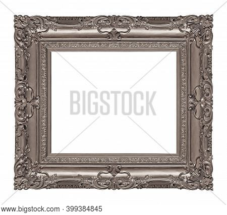 Silver Frame For Paintings, Mirrors Or Photo Isolated On White Background. Design Element With Clipp