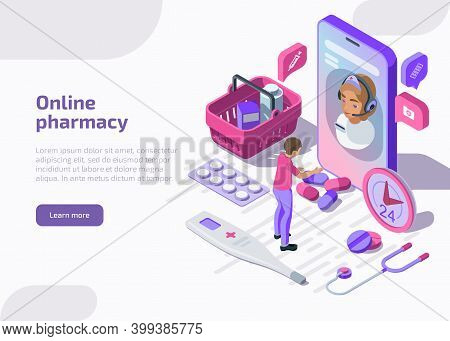 Online Pharmacy Isometric Banner With Shopping Bag, Tablets, Apothecary. Pharmacist Help Patient Via