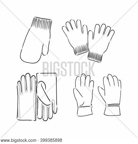Gloves Mittens Vector Sketch Illustration Vector Sketch Icon Isolated On Background. Hand Drawn Baby