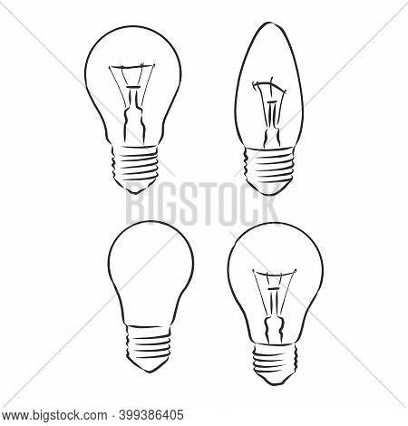 Light Bulb. Vector. Light Bulb Vector Sketch Illustration