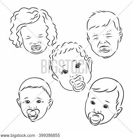 Doodle Style Infant Or Baby Illustration In Vector Format. Includes Several Looks, Crying, Smiling,