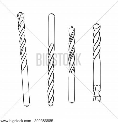 Drills. Set Of Drilling Tools For Metal And Wood. Sketch And Illustration Of Augers. Vector Technica