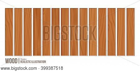 Wood Plank Board Isolated On White Background, Horizontal Plank, Planks Wood Brown Various Types, Ve