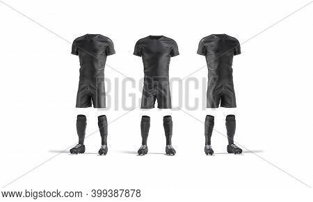 Blank Black Soccer Uniform With T-shirt, Short, Socks, Boots Mockup, 3d Rendering. Empty Professiona