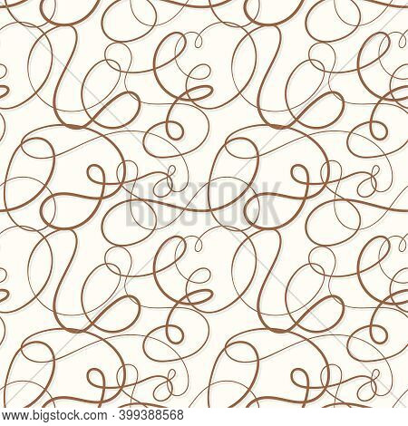 Vector Seamless Pattern. Decorative Texture With Tangled Curved Lines. Scrawl Squiggly In Pastel Col