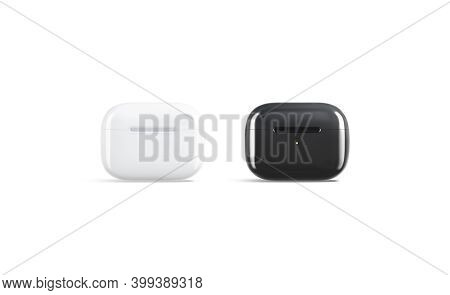 Blank Black And White Small Headphones Case Mockup Stand, Isolated, 3d Rendering. Empty Pro Headpiec