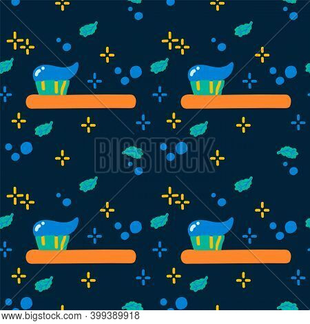 Pattern For Brushing Teeth In The Style Of Doodle. Cartoon Background Cleaning Of The Oral Cavity In