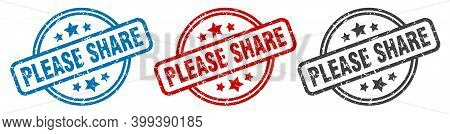 Please Share Stamp. Please Share Round Isolated Sign. Please Share Label Set