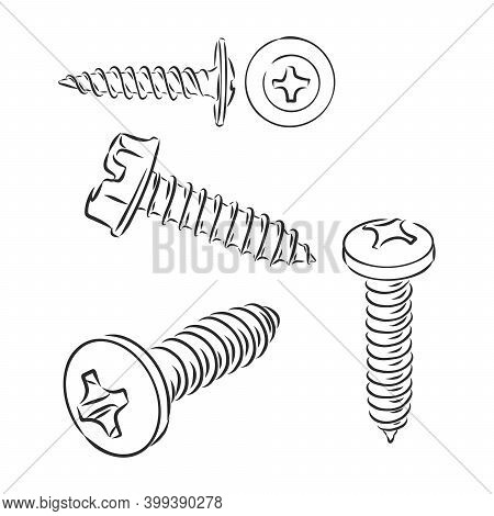 Screw Vector Sketch Illustration. Screw Vector Sketch Icon Isolated On Background. Hand Drawn Screw