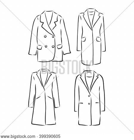 Coat Female With Long Sleeves And Pockets. Vector. Coat, Vector Sketch Illustration. Coat Vector Ske