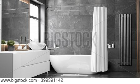 Blank White Opened Shower Curtain Mock Up, Front View, 3d Rendering. Empty Modern Apartment With Bat
