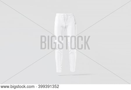 Blank White Sport Pants Mock Up, Gray Background, 3d Rendering. Empty Men Breeches Or Trackies For S