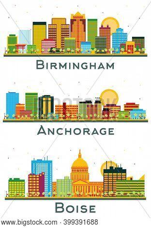 Anchorage Alaska, Boise Idaho and Birmingham Alabama City Skyline Set with Color Buildings Isolated on White.