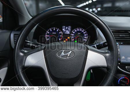 Novosibirsk, Russia - December 12, 2020: Hyundai Solaris, Cockpit Interior Cabin Details, Speedomete