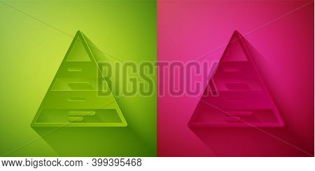 Paper Cut Business Pyramid Chart Infographics Icon Isolated On Green And Pink Background. Pyramidal