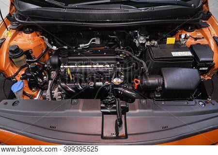 Novosibirsk, Russia - December 12, 2020: Hyundai Solaris, Under The Hood Of Car. Powerful Engine Clo