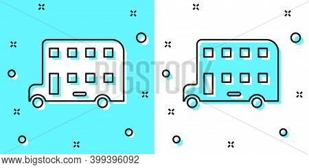 Black Line Double Decker Bus Icon Isolated On Green And White Background. London Classic Passenger B