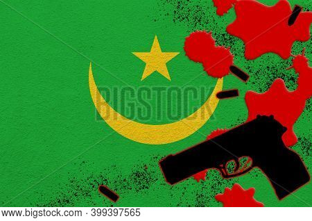 Mauritania Flag And Black Firearm In Red Blood. Concept For Terror Attack Or Military Operations Wit