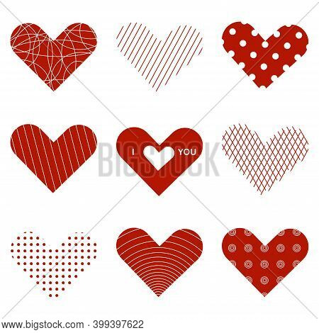 Heart Valentine Icon Set. Love Symbol. Elements For Valentines Day Greeting Card.