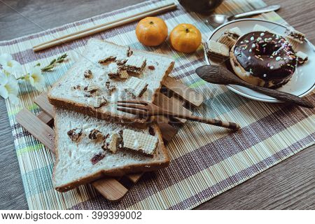 Rustic Breakfast, Bread Is Placed On An Artistic Table, Soft Focus.