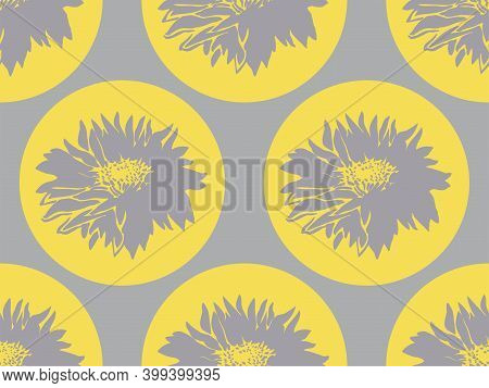 Geometric Floral Seamless Pattern With Chrysanthemum Ultimate Gray On Yellow Illuminating Rounded Fo