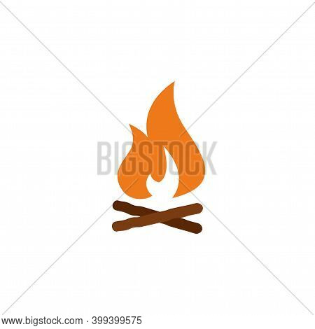 Campfire With Firewood Color Icon Vector. Simple Sign, Logo. Firewood In Fire. Bonfire. Camp Firepla