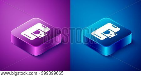 Isometric Mobile Banking Icon Isolated On Blue And Purple Background. Transfer Money Through Mobile