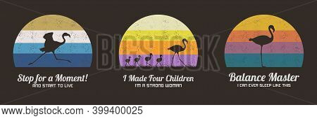 Set Of Multicolor Retro Illustrations With Silhouettes Of Flamingos. Animal Mother And Children. Tex