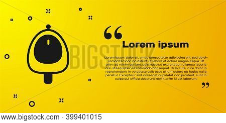 Black Toilet Urinal Or Pissoir Icon Isolated On Yellow Background. Urinal In Male Toilet. Washroom,