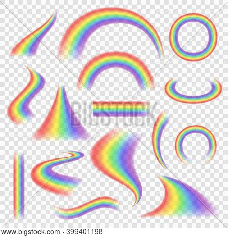 Rainbow Set. Colored Weather Objects Spectrum Arch Rainbow Vector Realistic Pictures. Rainbow Transp