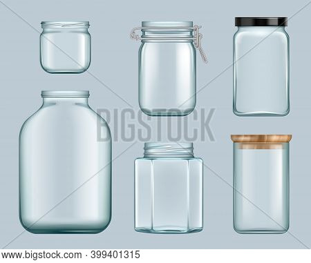 Glass Jars. Product Jam Containers Transparent Bottles For Liquids Canned Food For Shelves Vector Te
