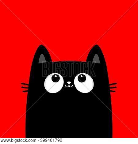 Cat Kitten Face Head Black Silhouette Looking Up. Kawaii Animal. Cute Cartoon Baby Character. Notebo