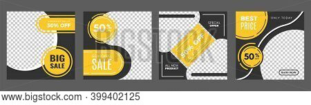 Social Media Post. Sale Discount Banners, Web Ad For Shops Store Vector Template. Illustration Disco