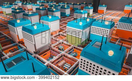 automation of a modern warehouse. logistics and distribution concept. 3d render. nobody around.