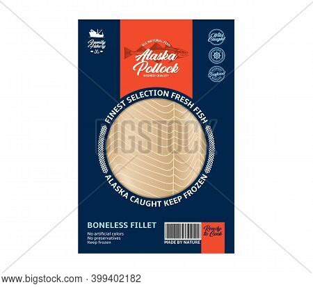 Vector Modern Style Alaska Pollock Packaging Design Concept