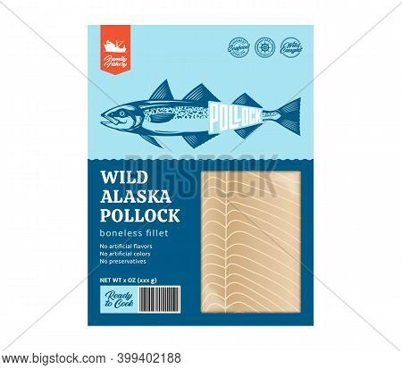 Vector Modern Style Alaska Pollock Packaging Design