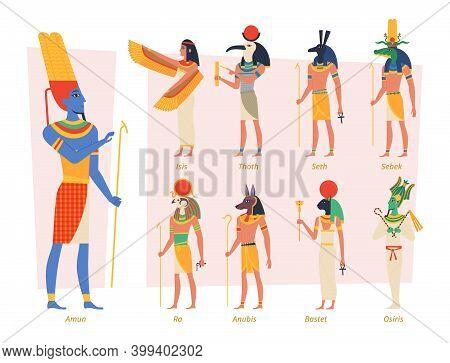 Ancient Egypt Gods. Pharaoh Anubis Osiris Egyptian People Vector Authentic Exact Characters. Religio