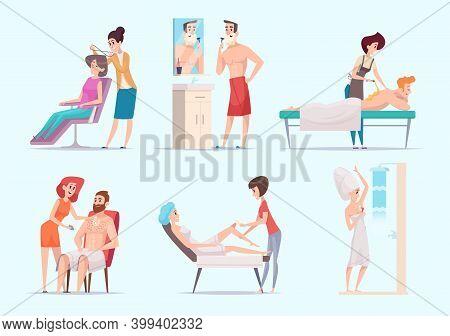 Body Depilation. Man And Woman Laser Epilation Skin Treatment Exact Vector Illustration Set. Depilat