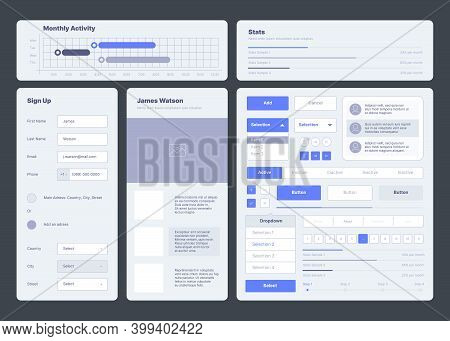 Ui Template. Web Dashboard Elements Buttons Dividers Menu Symbols Ux Layout Garish Vector Collection