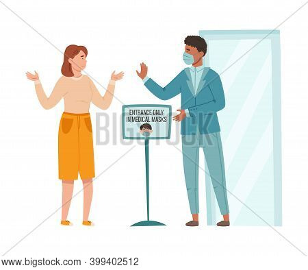 Young Man In Medical Mask Standing Controlling Observation Of Mask Mandate Before Entry Vector Illus