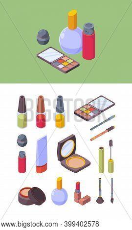 Makeup Cosmetic. Items For Beauty Women Colored Pallet Makeup Lipstick Shadows Pencils Garish Isomet