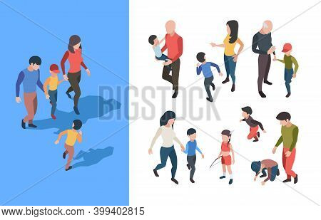 Family Walking. Parents Playing With Kids Happy Family Adolescent Person Garish Vector Isometric Col