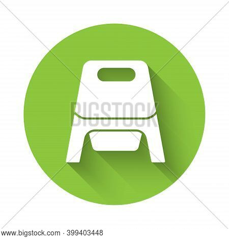 White Baby Potty Icon Isolated With Long Shadow. Chamber Pot. Green Circle Button. Vector