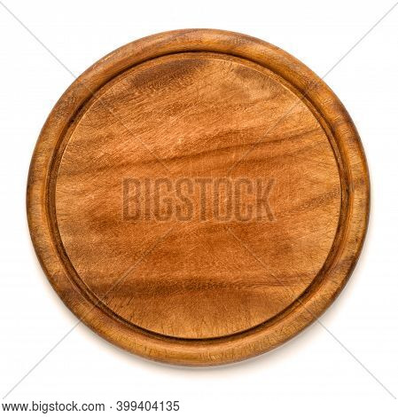 Used Round Wooden Cutting Board For Pizza Isolated On White Background. Mockup For Food Project.
