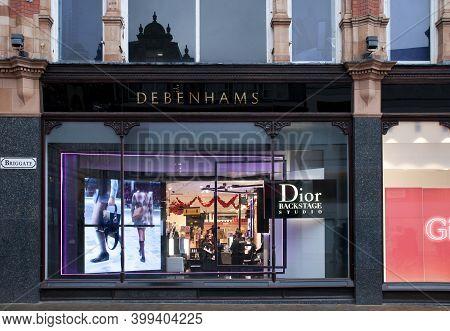 Leeds, West Yorkshire, United Kingdom: 18 September 2020: Display Of Fashion Advertising In Debenham