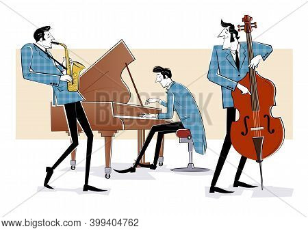 Vector Illustration Of A Jazz Band With Double-bass