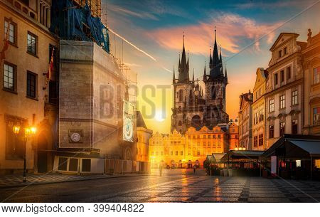 Prague Old Town Square Illuminated In Early Morning